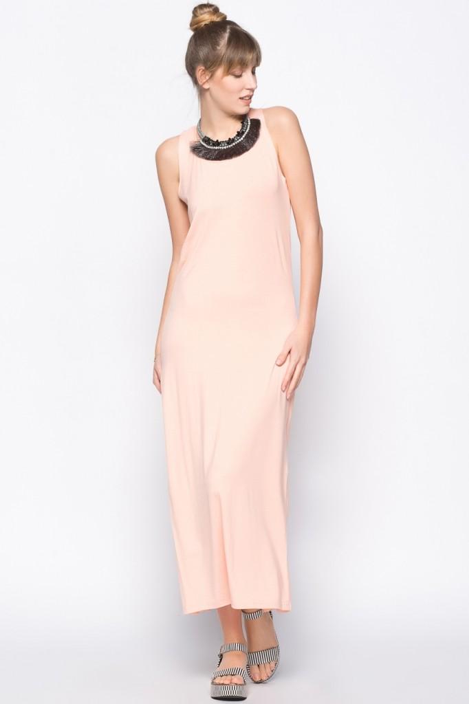Pembe Renkli Uzun Vero Moda Elbise Modeli