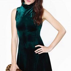 Zümrüt Yeşili Kadife Elbise Modelleri