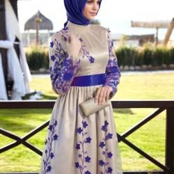 Çiçek Desenli Çok Güzel Alvina Tesettür Abiye Elbise Modelleri