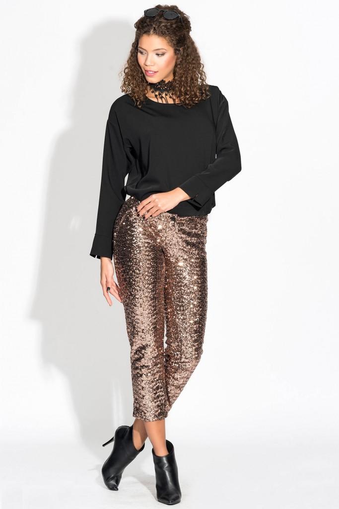 Bakır Renkli Çok Zarif Payetli Pantolon Modeli İroni Önden Görsel