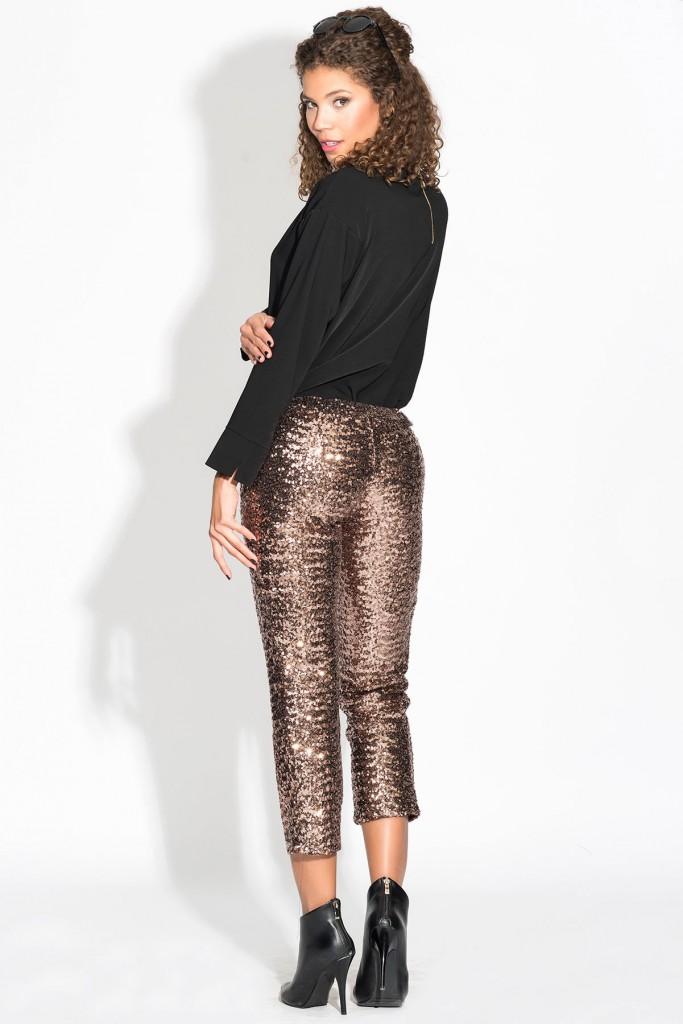 Bakır Renkli İroni Payetli Pantolon Modeli