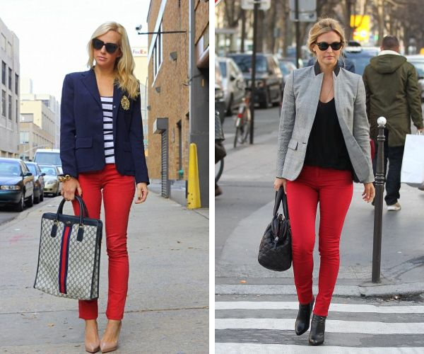 En Tarz Kırmızı Pantolon Kombinleri