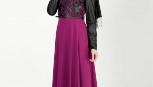 Fuşya Tesettür Elbise Modeli 2016