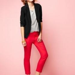 Kırmızı Renkli Bilekte Biten Kırmızı Pantolon Kombinleri
