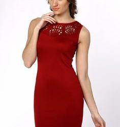 Kırmızı Renkli Lazer Kesim Elbise Modelleri