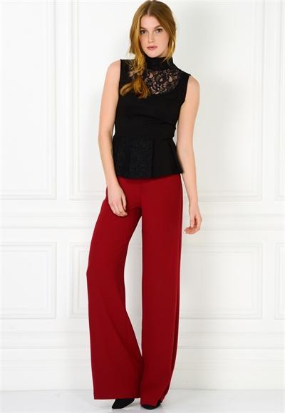 Kırmızı Renkli Yüksek Bel adL Bayan Pantolon Modeli