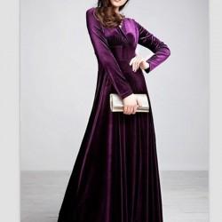 Kadife Uzun Kloş Elbise Modelleri