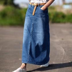 Kemer Detaylı Uzun Kot Etek Modelleri