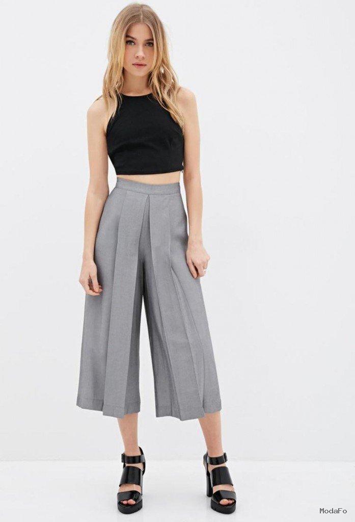 Pileli Culotte Pantolon Modelleri