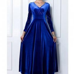 Saks Mavisi Kadife Kloş Elbise Modelleri