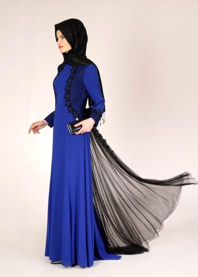 Tül Detaylı Alvina Tesettür Abiye Elbise Modelleri