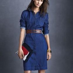 Kemer Detaylı Önden Düğmeli Yeni Sezon Kot Elbise Modeli