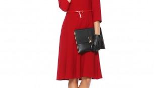 Kemer Detaylı Kırmızı Renkli Seçil Store Elbise Modeli