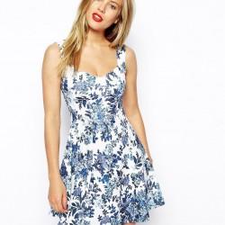 Sıfır Kol Çiçek Desenli Elbise Modelleri