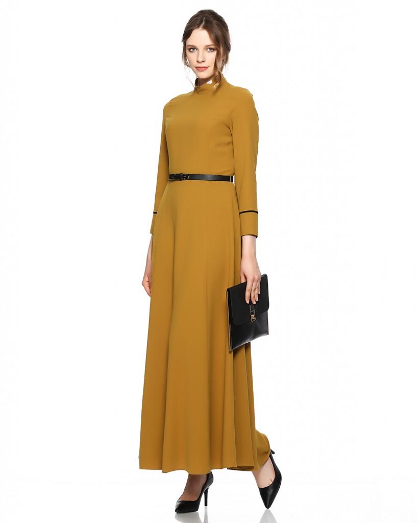 Seçil Store Kemer Detaylı Uzun Krep Elbise Modeli 2016