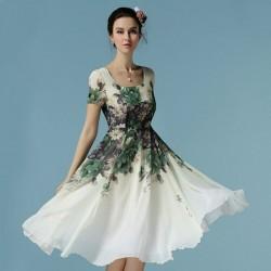 Çiçek Desenli Midi Şifon Elbise Modelleri