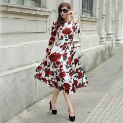 Çiçek Desenli Uzun Kloş Elbise Modelleri