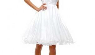Beyaz Renkli Kısa Kloş Abiye Modelleri