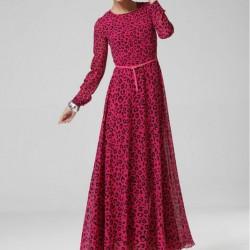 Desenli Uzun Kloş Elbiseler 2016