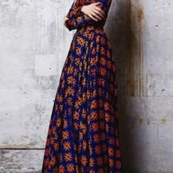 En Farklı Desenli Kloş Uzun Elbise Modelleri