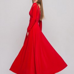 Kırmızı Renkli Çok Şık Uzun Kloş Abiye Modelleri 2016