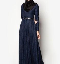 Kemer Detaylı Tesettür Kloş Elbise Modelleri 2016