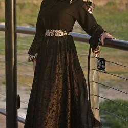 Tül Detaylı Tesettür Kloş Elbise Modelleri