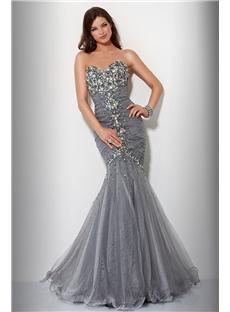 Balık Etekli Çok Zarif Gri Abiye Elbise Modelleri 2016