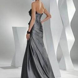 Sırt Dekolteli Gri Abiye Elbise Modelleri 2016