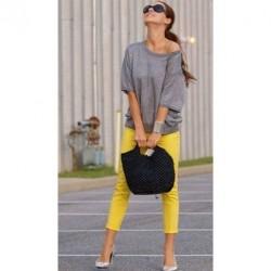 Sarı Renkli Yazlık Bayan Kapri Modelleri 2016