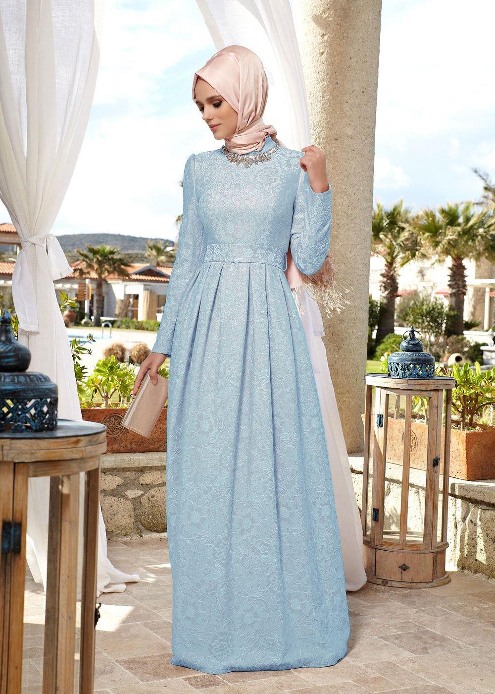 29f4545e99301 Alvina Giyim Tesettür Jakarlı Elbise Modelleri 2016