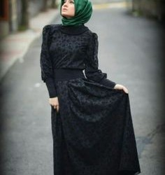 Günlük Çok Şık Siyah Tesettür Abiye Elbise Modelleri 2016