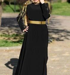 Kemer Detaylı siyah Türbanlı Elbise Modelleri 2016