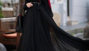 Tül Detaylı Siyah Tesettür Abiye Modelleri 2016