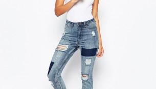 Yeni Moda Yüksek Bel Yamalı Kot Pantolon Modelleri 2016