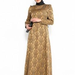 Yeni Sezon Hardal Renkli Tesettür Jakarlı Elbise Modelleri 2016
