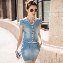 İşlemeli Çok Şık Yazlık Jean Elbise Modelleri