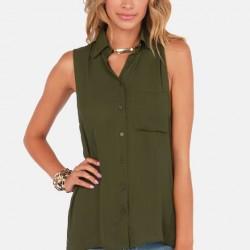 2016 Asker Yeşili Bluz Kombinleri