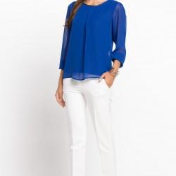 DeFacto Giyim Şifon Detaylı Saks Mavisi Bluz Kombinleri