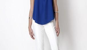 En Şık Saks Mavisi Bluz Beyaz Pantolon Kombinleri