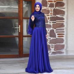 Mavi Renkli En Güzel Genç Tesettür Abiye Modelleri 2016