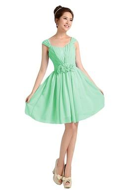 Mint Yeşili Şifon Detaylı Kloş Elbise Modelleri 2016