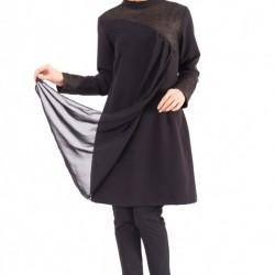 Yeni Sezon Siyah Renkli Tesettür Tunik Modelleri