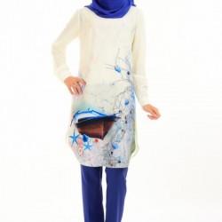 Basklı Desenli Oldukça Şık 2 Yaka Tunik Modelleri