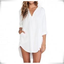 Beyaz Renkli Çok Zarif Önü Kısa Arkası Uzun Gömlek Tunik Modelleri 2016