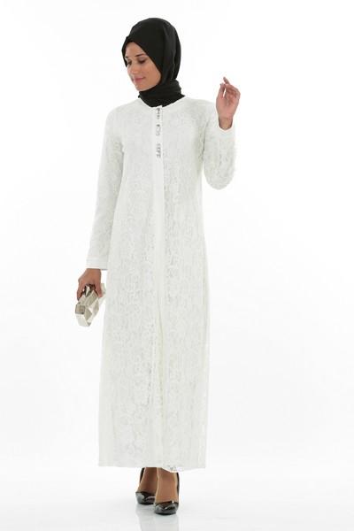 Beyaz Renkli Parlak Taş İşlemeli 2 Yaka Ferace Modelleri 2016