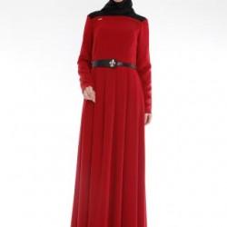 Bordo Renkli Kemer dEtaylı Oldukça Şık Armine Tesettür Elbise Modelleri