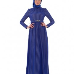 En Yeni Saks Mavisi Yeni Sezon Armine Tesettür Elbise Modelleri