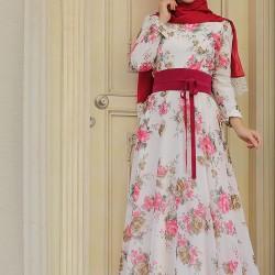 Çiçek Desenli Günlük Tesettür Elbise Modelleri 2016