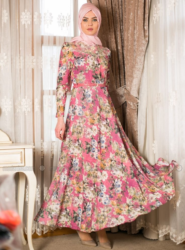 Çiçekli Günlük Tesettür Elbise Modelleri